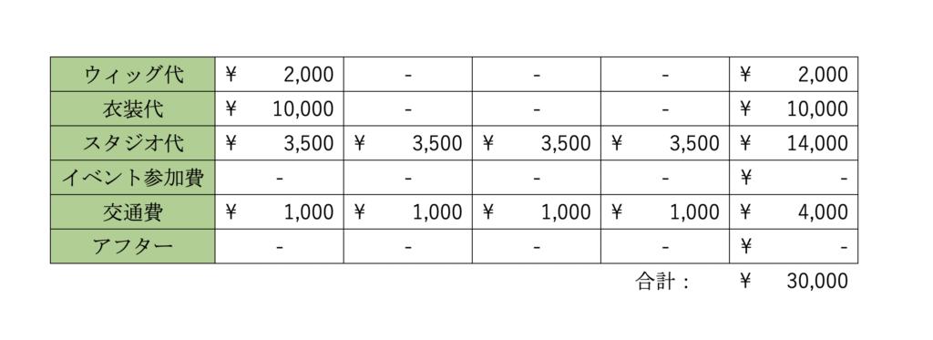コスプレ_費用シミュレーション_アフターなし
